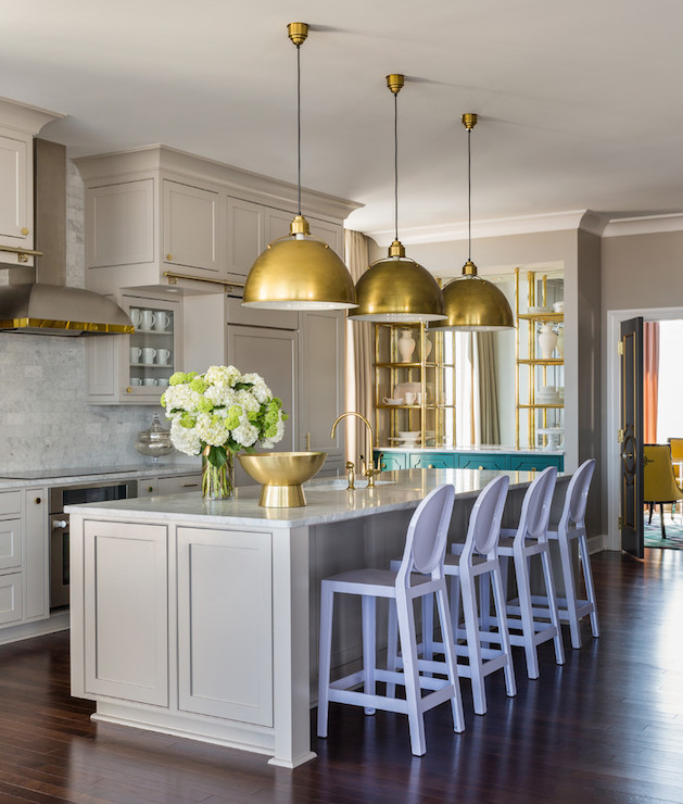 Light gray kitchen cabinets contemporary kitchen sherwin williams anew gray tobi fairley Home decor modern pinterest