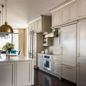 Greige Kitchen Cabinets, Contemporary, Kitchen, Sherwin Williams Anew Gray, Tobi Fairley