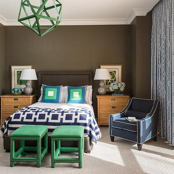 Emerald Green Stools, Contemporary, Boy's Room, Sherwin Williams Porpoise, Tobi Fairley