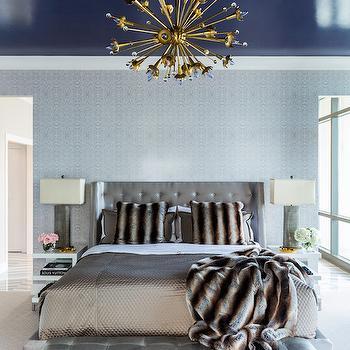 Navy Blue Ceiling, Contemporary, Bedroom, Benjamin Moore Midnight Navy, Tobi Fairley