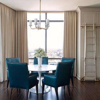 Peacock Blue Dining Chairs, Contemporary, Kitchen, Sherwin Williams Anew Gray, Tobi Fairley