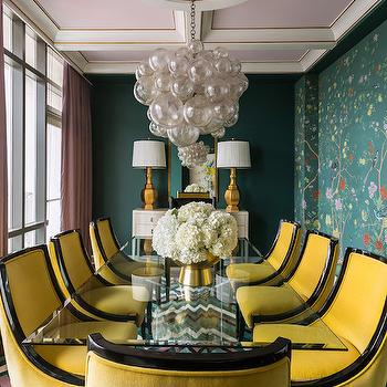 Yellow Dining Chairs, Contemporary, Dining Room, Sherwin Williams Rookwood Sash Green, Tobi Fairley