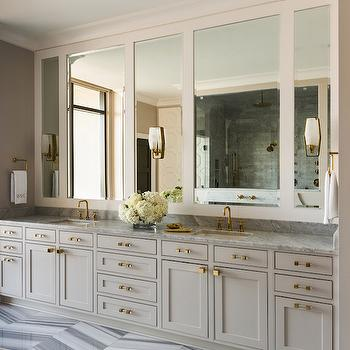 Light Gray Bathroom Vanity, Contemporary, Bathroom, Sherwin Williams Alpaca, Tobi Fairley