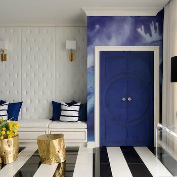 Blue Velvet Doors, Contemporary, Entrance/foyer, Sherwin Williams Snowbound, Tobi Fairley