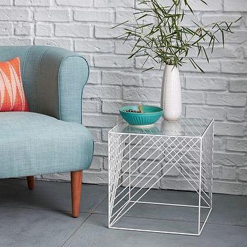 Crisscross Wire Side Table, Glass I West Elm