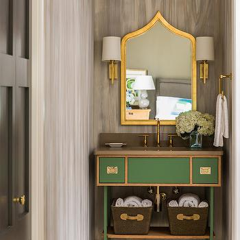 Green Bathroom Vanity, Contemporary, Bathroom, Sherwin Williams Lucky Green, Tobi Fairley