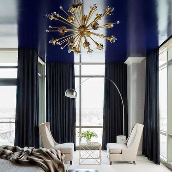 Navy Curtains, Contemporary, Bedroom, Benjamin Moore Midnight Navy, Tobi Fairley