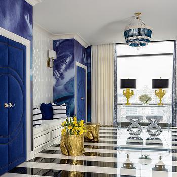 Black and White Stripe Floors, Contemporary, Entrance/foyer, Sherwin Williams Snowbound, Tobi Fairley