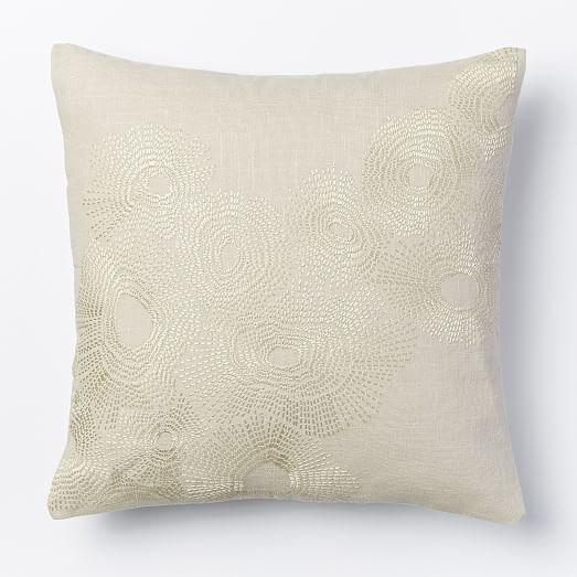 Decorative Pillows At West Elm : Embroidered Wavelet Pillow Cover - Stone I West Elm