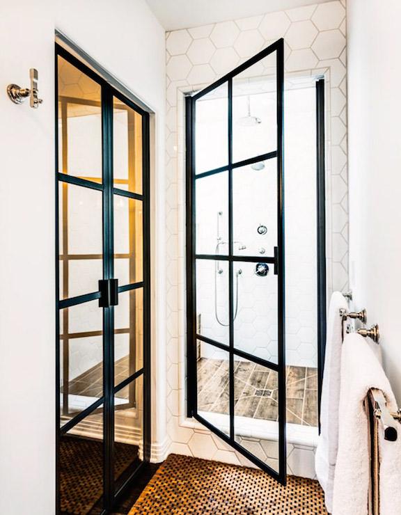 Hex Shower Tiles Contemporary Bathroom Svz Interior
