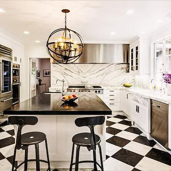 Kitchen with Black and White Floors, Contemporary, Kitchen, SVZ Interior Design
