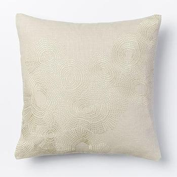Embroidered Wavelet Pillow Cover, Stone I West Elm