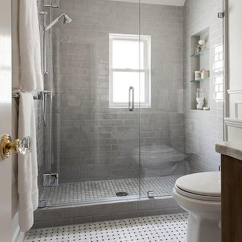 Shower with Gray Subway Tiles, Transitional, Bathroom, Benjamin Moore Gray Owl, Niche Interiors