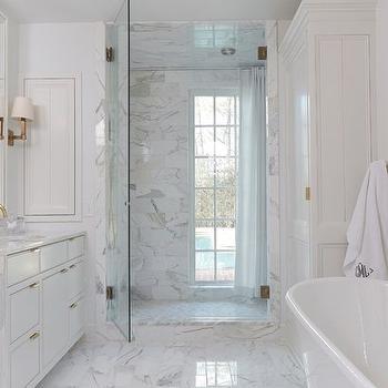 Bathroom Vanity with Waterfall Countertop, Transitional, Bathroom, Benjamin Moore Vanilla Milkshake, Birmingham Home and Garden