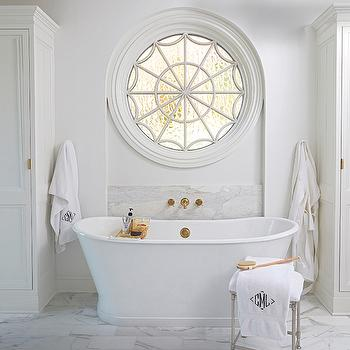 Bathtub with Gold Tub Filler, Transitional, Bathroom, Benjamin Moore Vanilla Milkshake, Birmingham Home and Garden