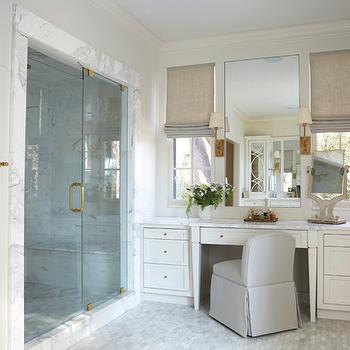Built In Make Up Vanity Ideas, Transitional, Bathroom, Libby Greene Interiors