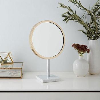 Marble Base Vanity Mirror, Brass I West Elm