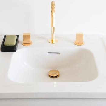 Gold Gooseneck Bathroom Sink Faucet, Contemporary, Bathroom, Ensemble Architecture