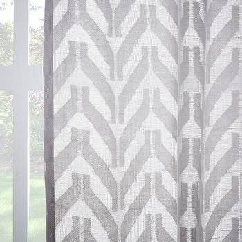 Sheer Chevron Curtain, Frost Gray I West Elm