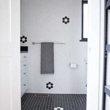 Bathroom with Black Hex Floor, Vintage, Bathroom, Claire Zinnecker Design