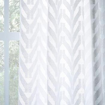 Sheer Chevron Curtain, White I West Elm