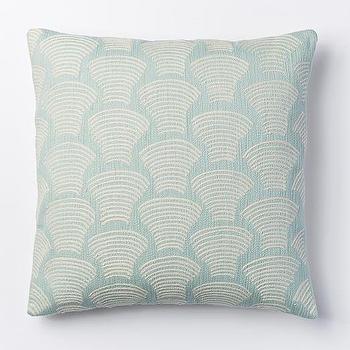 Crewel Deco Shells Pillow Cover, Pale Harbor I West Elm