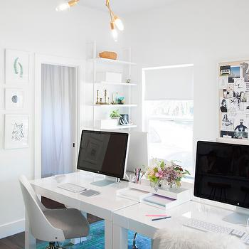 Side By Side Desks, Contemporary, Den/library/office, Claire Zinnecker Design