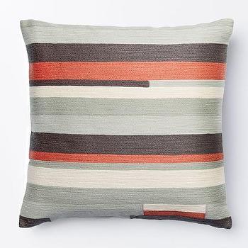 Crewel Modern Stripes Pillow Cover, Rose Bisque I West Elm