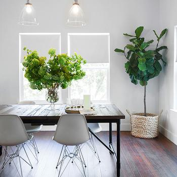 Dark Dining Table with White Chairs, Transitional, Dining Room, Claire Zinnecker Design