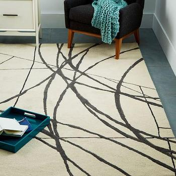 Christopher Wynter Linear Wool Rug, Ivory I West Elm
