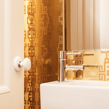 Metallic Gold Greek Key Wallpaper, Contemporary, Bathroom, Ensemble Architecture
