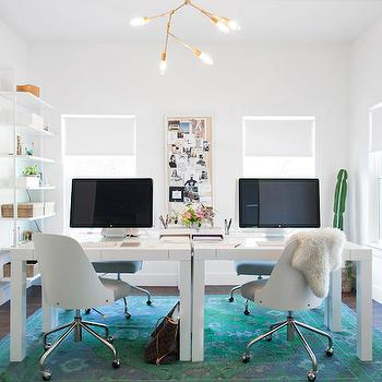 Turquoise and Teal Rug, Contemporary, Den/library/office, Claire Zinnecker Design