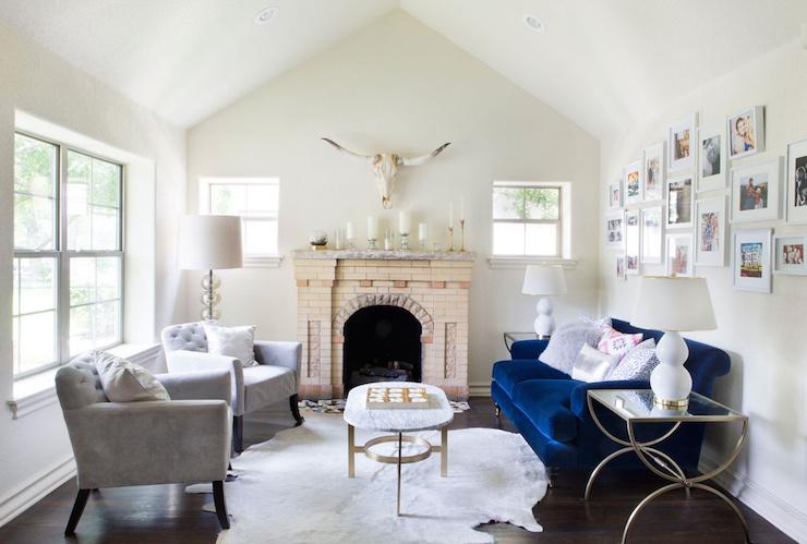 Blue Velvet Sofa Contemporary Living Room Claire Zinnecker Design
