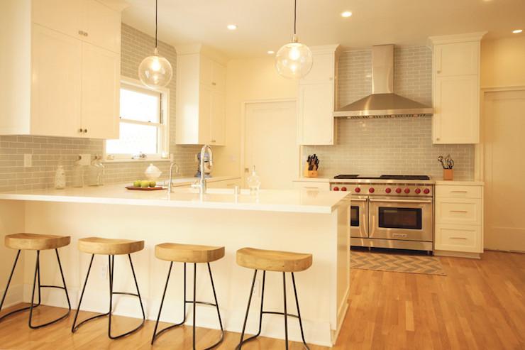 Ivory Kitchen Cabinets with Gray Backsplash, Transitional, Kitchen, Courtney Blanton Interiors