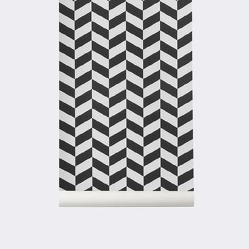 Angle Wallpaper in Black design by Ferm Living I Burke Decor