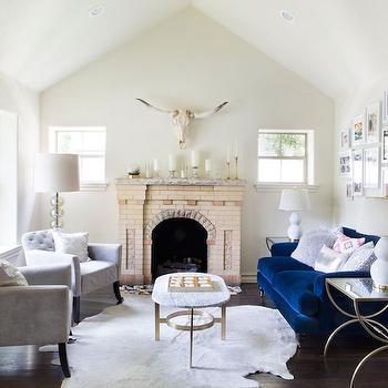 Blue Velvet Sofa, Contemporary, Living Room, Claire Zinnecker Design