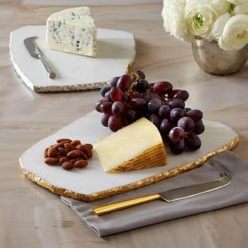 White Marble Cheese Plate with Knife by Two's Company I Burke Decor