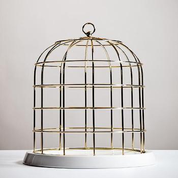 Twitable Gold Metal Birdcage w/ Porcelain Base I Burke Decor