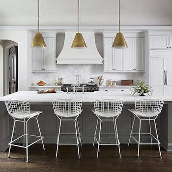 White Kitchen with Gray Island, Transitional, Kitchen, Ryan Street and Associates