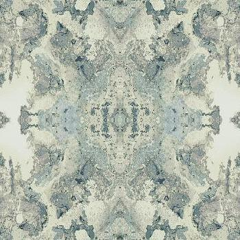 Inner Beauty Wallpaper in Aquamarine, Teal, and Cream, Burke Decor