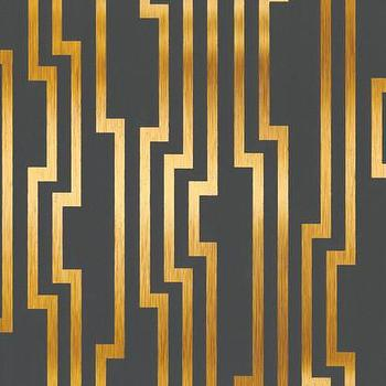 Velocity Wallpaper in Charcoal and Gold design by Candice Olson, Burke Decor