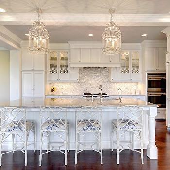 White Bamboo Counter Stools, Transitional, Kitchen, Stonewood LLC