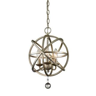 Z-Lite Acadia 3-light Antique Silver/ Clear Crystal Pendant, Overstock.com