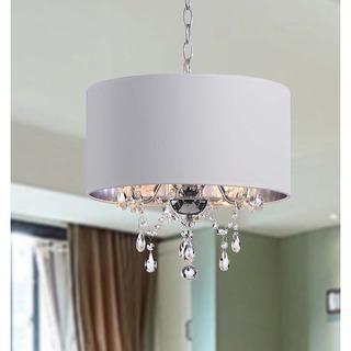 Indoor 3-light White/ Chrome Pendant Chandelier, Overstock.com