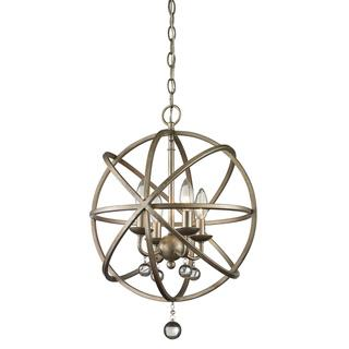 Z-Lite Acadia 4-light Antique Silver/ Clear Crystal Pendant, Overstock.com