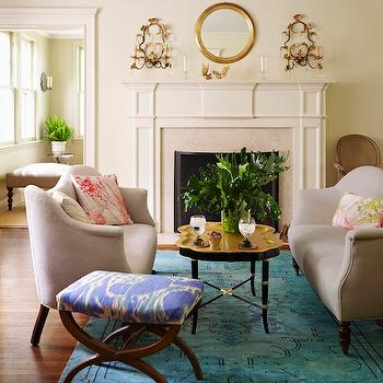Turquoise Overdyed Rug, Transitional, Living Room, McGrath 2