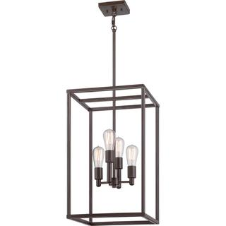 Quoizel 'New Harbor' 4-light Western Bronze Cage Chandelier, Overstock.com