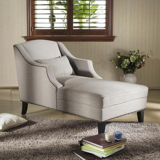 Baxton Studio 'Asteria' Putty Gray Linen Modern Chaise Lounge, Overstock.com