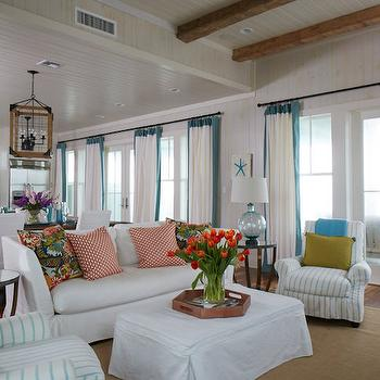 Turquoise Border Curtains, Cottage, Living Room, Tracery Interiors