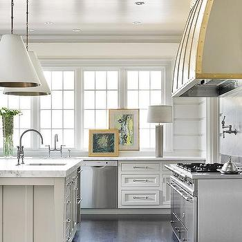 Kitchen Island with Two Lights, Transitional, Kitchen, Melanie Turner Interiors